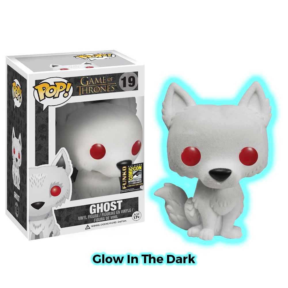game of thrones funko pop vinyl, ghost flocked, glow in the dark, direwolf