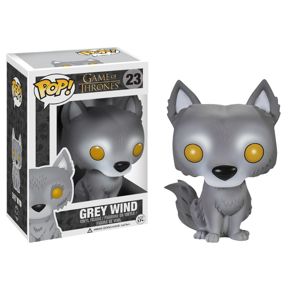 game of thrones funko pop vinyl, grey wind, direwolf