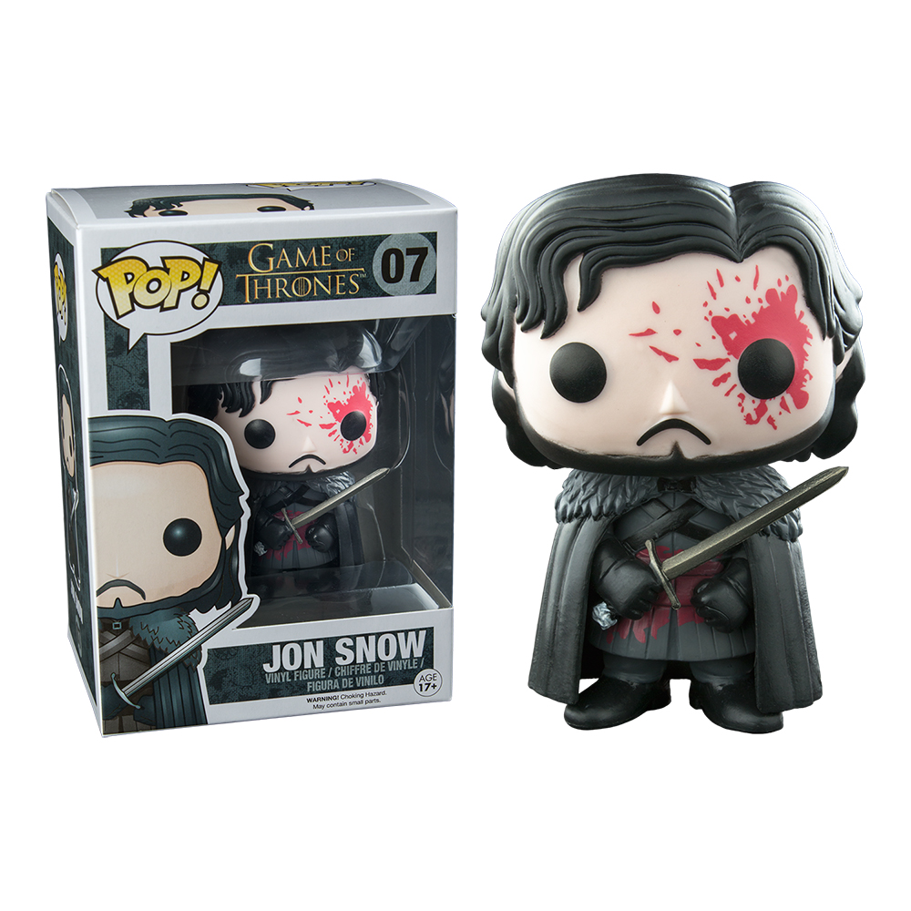 game of thrones funko pop vinyl, bloody, jon snow, dead