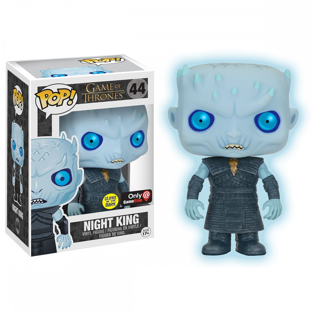 game of thrones funko pop vinyl, night king, glow in the dark