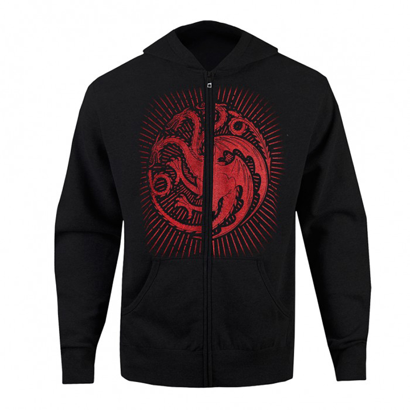 game of thrones winter apparel, house targaryen zip up hoodie