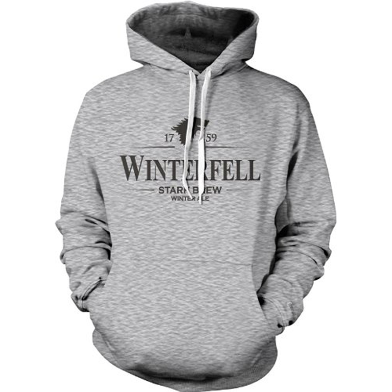 game of thrones winter apparel, winterfell ale, stark brew hoodie.