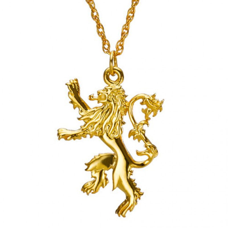 game of thrones jewelry, house lannister gold pendant.