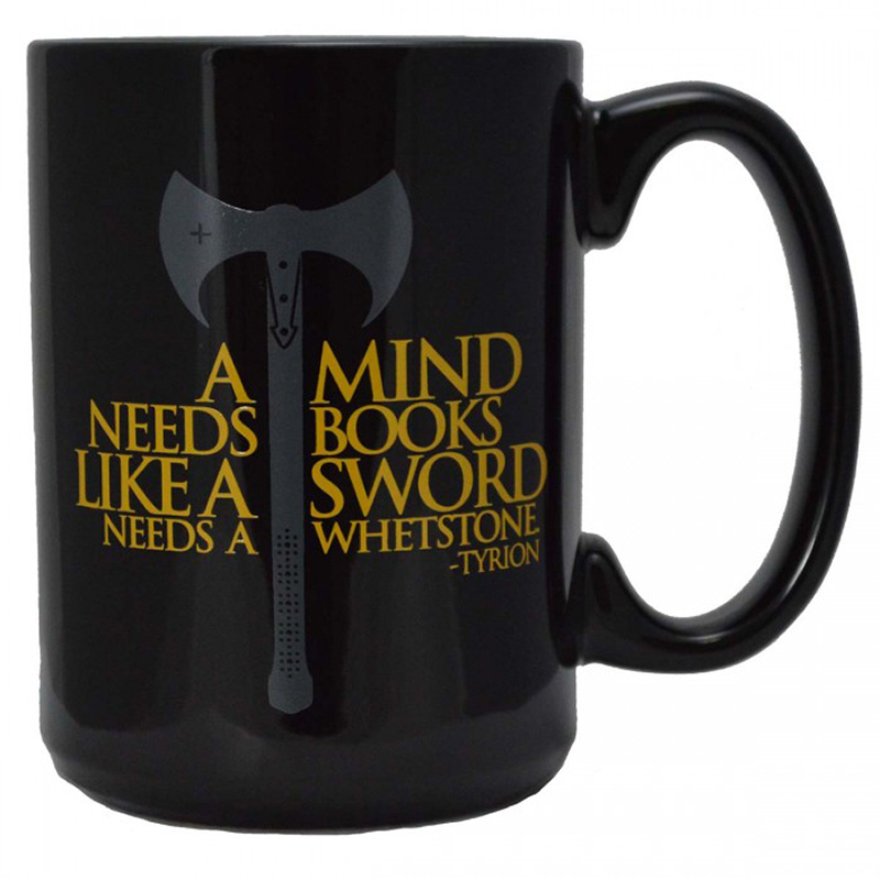 tyrion lannister quote coffee mug, mind needs books like sword needs whetstone