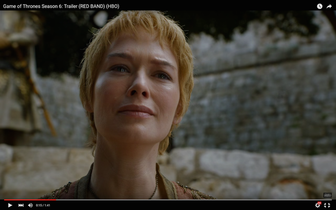 game of thrones season 6 trailer, cersei lannister