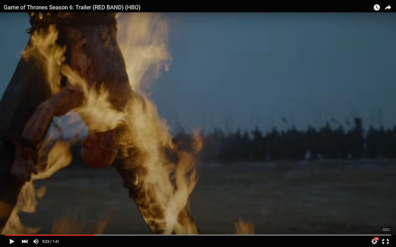game of thrones season 6 trailer, flayed man burning, bolton army