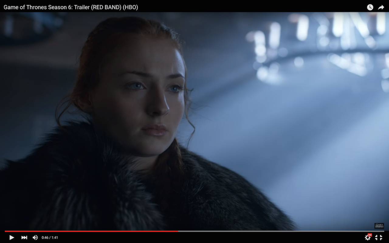 game of thrones season 6 trailer, sansa stark