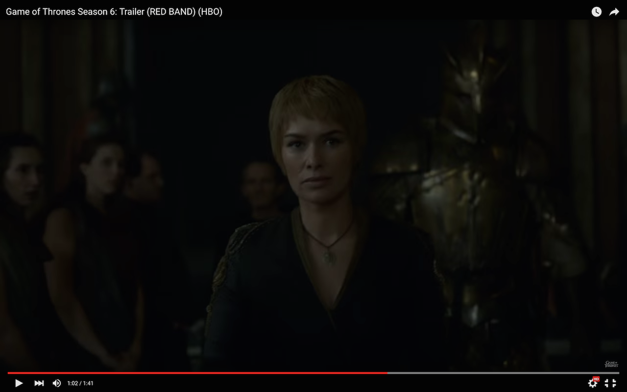game of thrones season 6 trailer, cersei, the mountain, robert strong, qyburn, the red keep