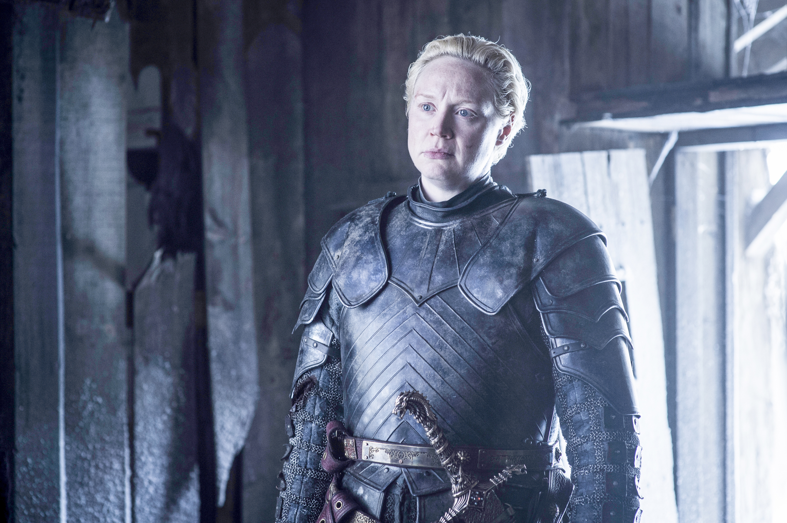 game of thrones season 6 photos, brienne of tarth, gwendoline christie