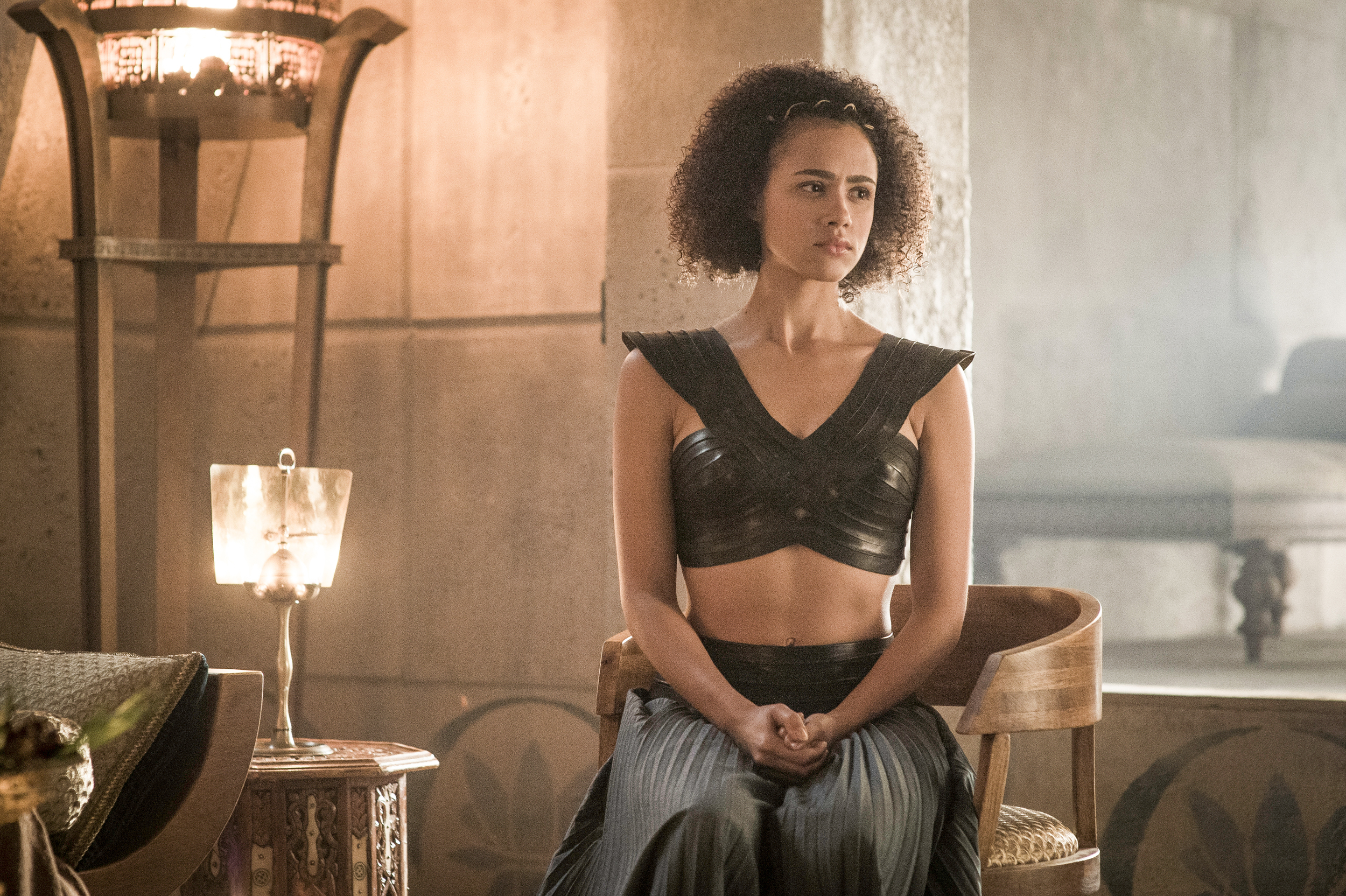 game of thrones season 6 photos, missandei, nathalie emmanuel