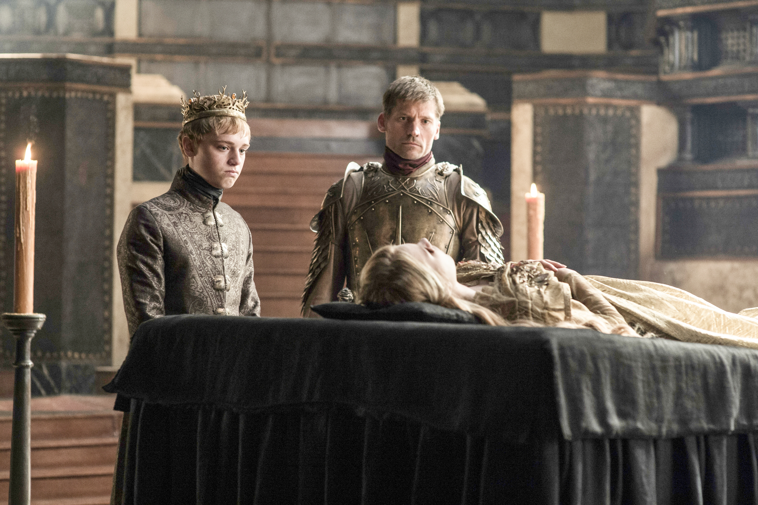 game of thrones season 6 photos, tommen baratheon, jaime lannister, myrcella funeral