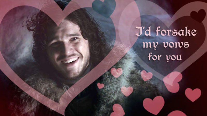 game of thrones valentine's cards, jon snow, forsaken vows