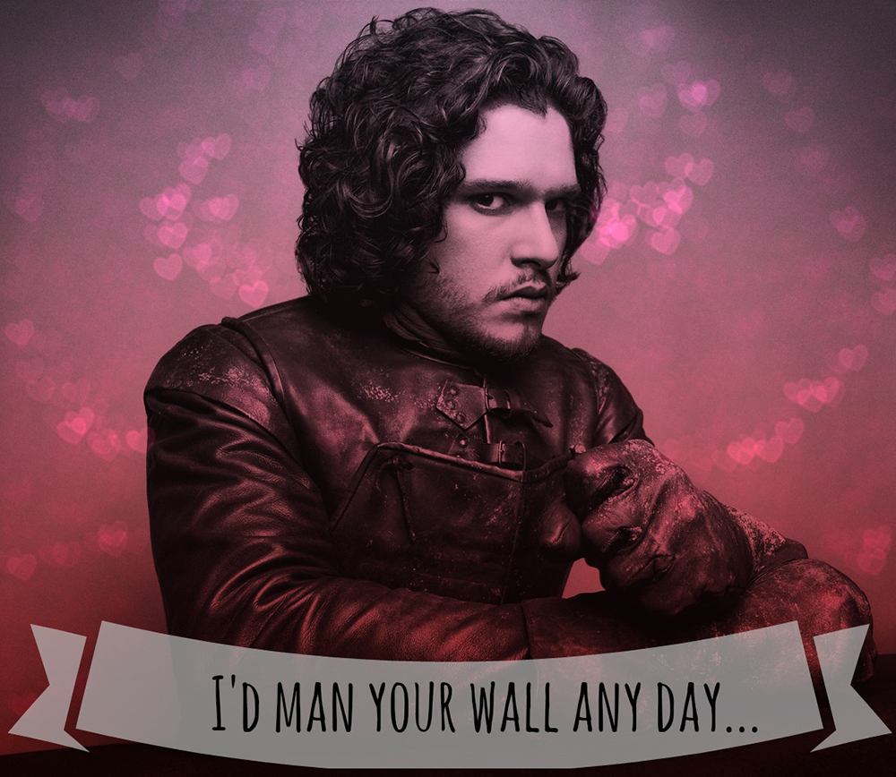 game of thrones valentine's cards, jon snow, i'd man your wall