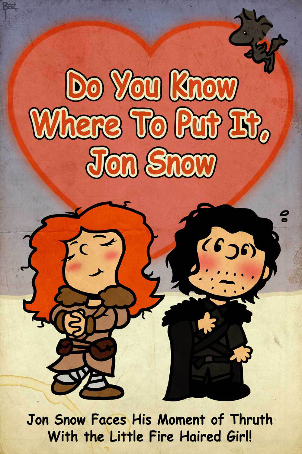 game of thrones valentine's cards, jon snow, ygritte, charlie brown
