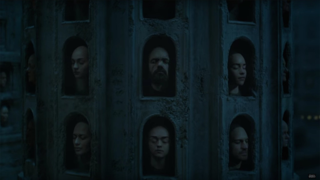 game of thrones season teaser, hall of faces, sansa, tyrion, daenerys, cersei, arya, jaime