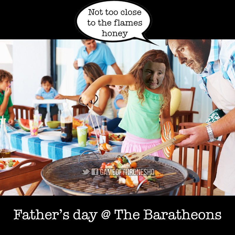 game of thrones father's day, shireen, stannis, baratheon bbq