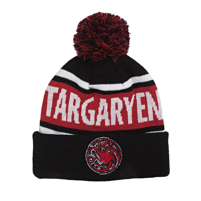 game of thrones winter apparel, targaryen pom-pom beanie, toque.