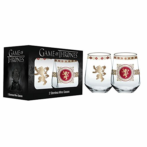 game of thrones valentine's gifts, house lannister, stemless wine glasses