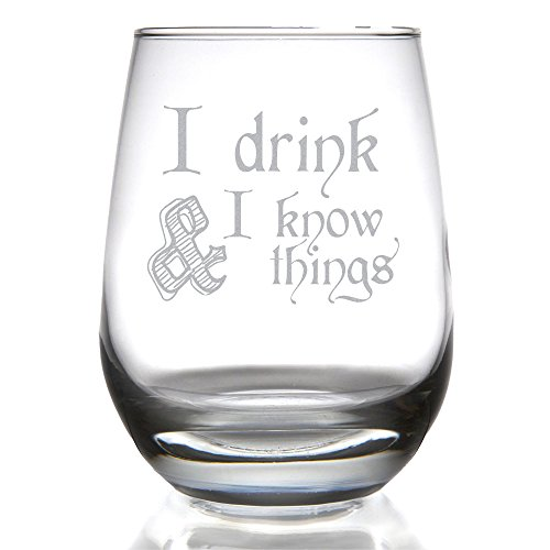 game of thrones valentine's gifts, i drink and I know things, stemless wine glass