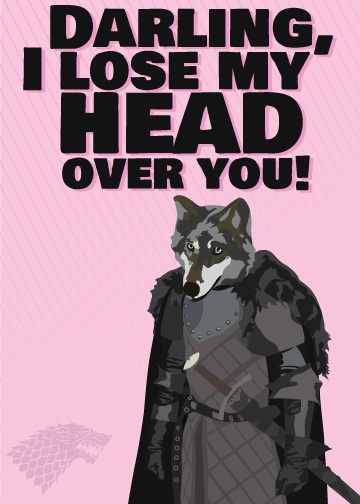 game of thrones valentine's day cards, robb stark, t-shirt
